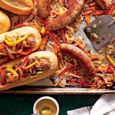 January 2016 Recipes: Bratwurst with Peppers and Onions
