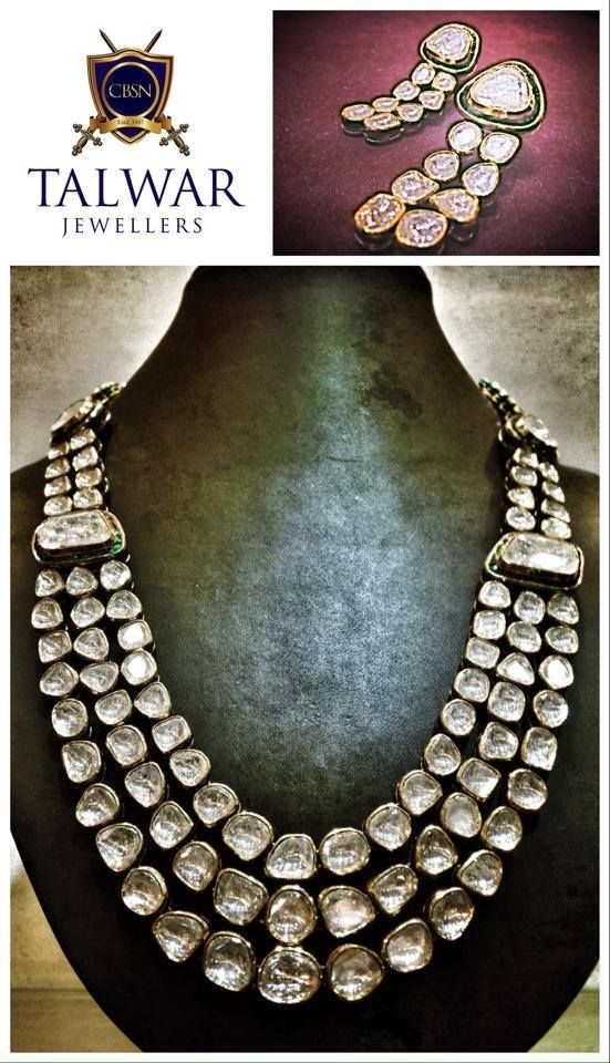Handcrafted Polki Necklace made with uncut diamonds.
