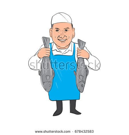 Illustration of a Fishmonger smiling Holding Selling Fish front view done in hand sketch drawing Cartoon style.  #fishmonger #cartoon #illustration