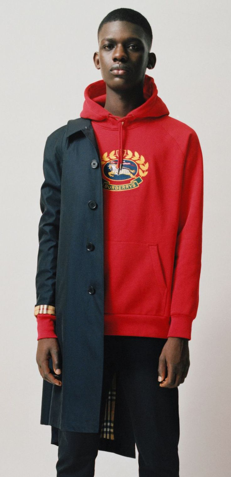 A Burberry Hoodie In Loop Back Jersey Embroidered With An Archive Crest Originally Found On Burberry Sweatsh Cool Street Fashion Hoodie Fashion Mens Outfits [ 1521 x 736 Pixel ]