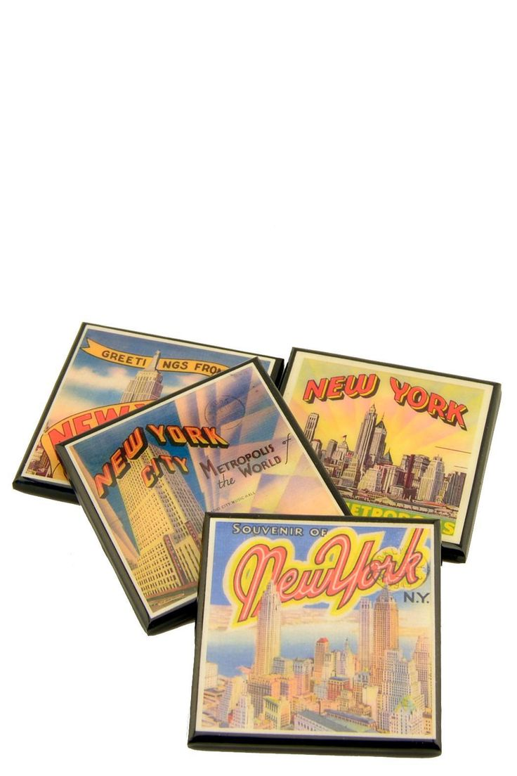 """Each set includes four (4) vintage coaster designs measuring 3.5"""" x 3.5""""    This set celebrates New York City using vintage NYC postcard images from the 1930s and 40s. From the Empire State Building to Radio City the town is all here.    • The perfect new home or hostess gift  • Each coaster has multiple coats of a gloss sealer for a soft shine and a long life  • The coasters are backed with a layer of cork to protect your furniture  • You will receive all four coasters pictured  • Handmade…"""