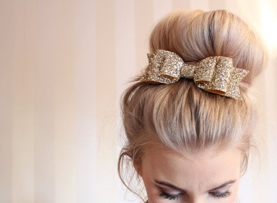 Oversized Large pale gold glitter fabric bow by LovelyLittlesandCo