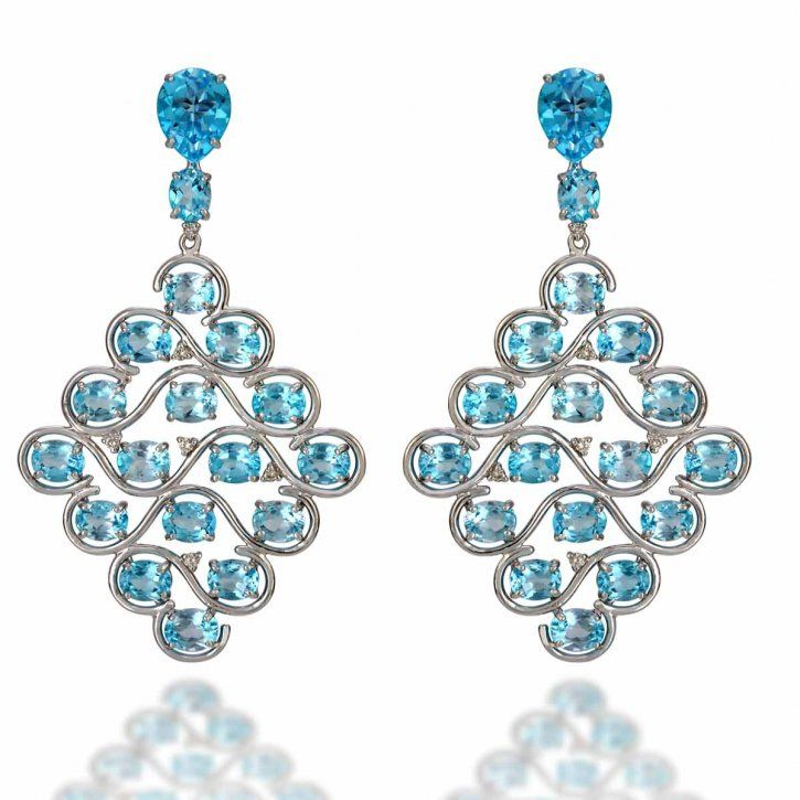 """""""Wave"""" earrings in 18K white gold and blue topaz by Vianna, HT"""