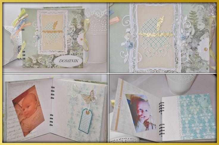 Album wykonany w całości ręcznie, metodą scrapbooking. Składa się z 12 kart czyli 24 stron o wymiarach 20 x 20cm. Strony oklejone są profesjonalnym papierem, zdobione wstążeczkami, kwiatkami oraz papierowymi elementami.