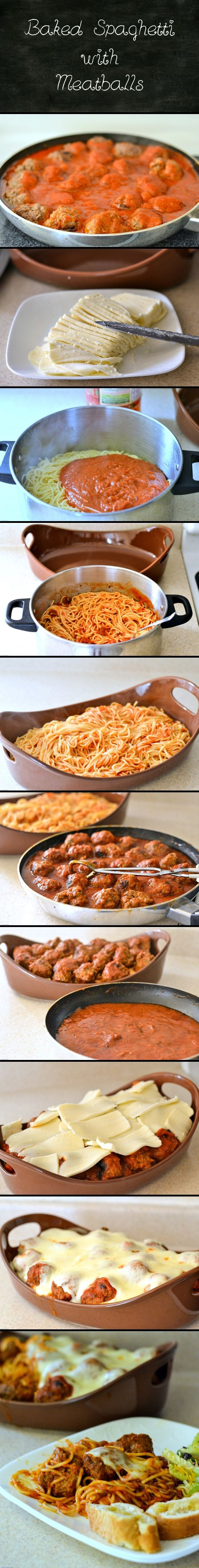 Baked Spaghetti with Meatballs -www.flouronmyface.com
