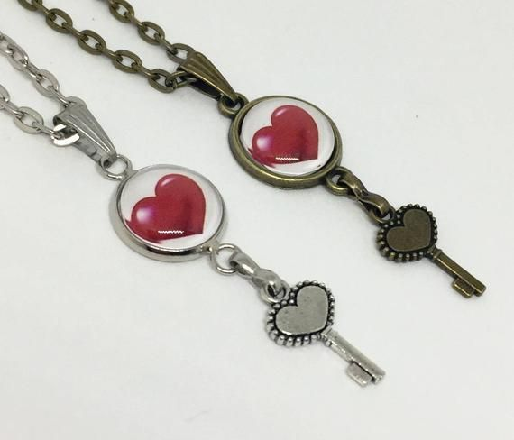 Rockabilly Key To My Heart Necklace Heart And Key Necklace