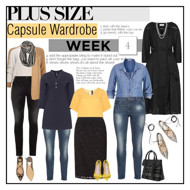 """""""Week 4 plus size outfits from capsule wardrobe 1"""" by budding-designer ❤ liked on Polyvore featuring Zimmermann, Silver Jeans Co., Henri Bendel, maurices, ZJ Denim Identity, Manon Baptiste, Avenue, Salvatore Ferragamo, plussize and plussizefashion"""