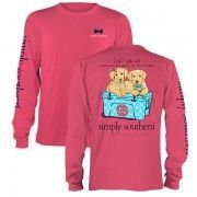 Simply Southern Pink Girls In Pearls, Guys in Ties Long Sleeve Cotton Tee Shirt