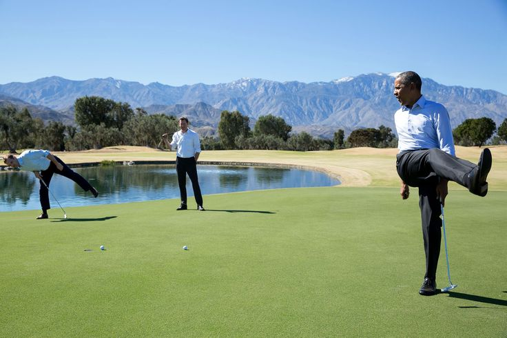 """Feb. 16, 2016 """"President Obama reacts as his putt falls just short during an impromptu hole of golf with staffers Joe Paulsen, left, and Marvin Nicholson after the U.S.-ASEAN Summit at the Annenberg Retreat at Sunnylands in Rancho Mirage, Calif."""" (Official White House Photo by Pete Souza)"""