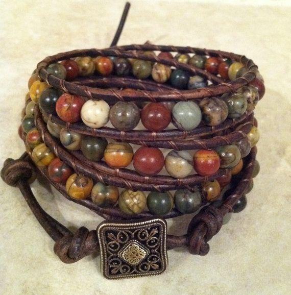 Multi Color Earthy Leather Wrap Bracelet on Antique Brown Leather- Boho Wrap Bracelet, Leather Bracelet, Beaded Wrap Bracelet on Etsy, $39.00
