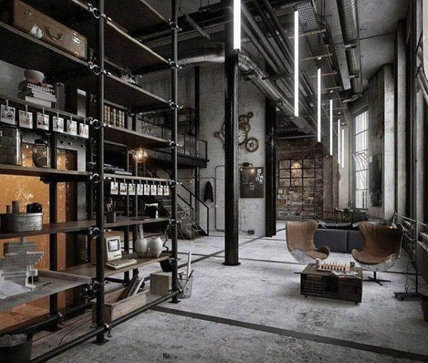 50 ultimate bachelor pad designs for men luxury interior - Vintage industrial interior design ...