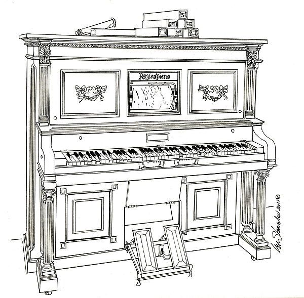 Regina Player Piano by Ira Shander - Regina Player Piano Drawing - Regina Player Piano Fine Art Prints and Posters for Sale