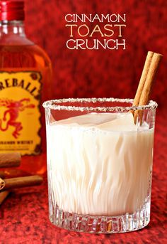 RumChata mixed with Fireball Whisky and a little vanilla vodka to round it out. Amazing dessert cocktail idea!