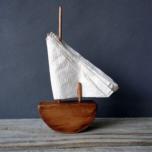 Wooden sailboat napkin holder