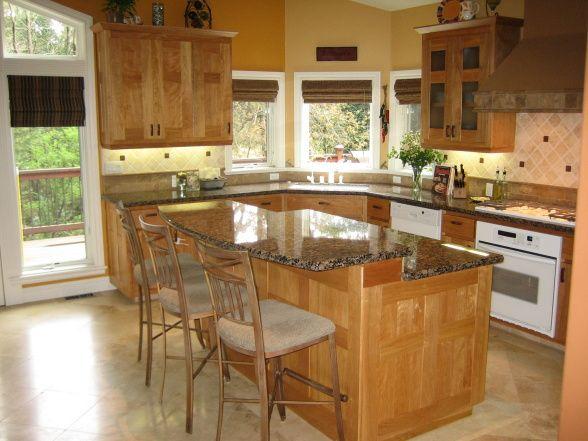 kitchen designs with red birch brown granite red birch cabinets with a - Birch Kitchen Design