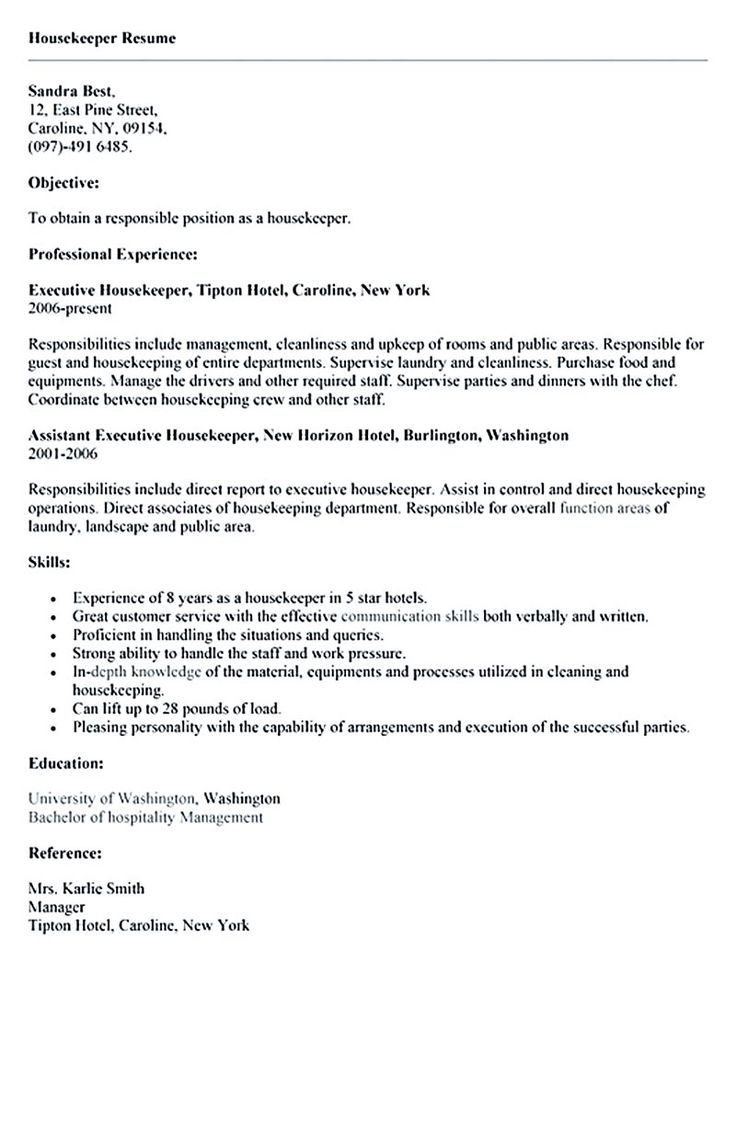 Housekeeper resume should be able to contain and highlight important aspects that will help you getting the job. As we all know, there are many housek... housekeeper-resume-template