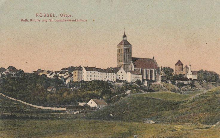 Rössel, Ostpr. Kath. Kirche und St. Josephs - Krankenhaus.