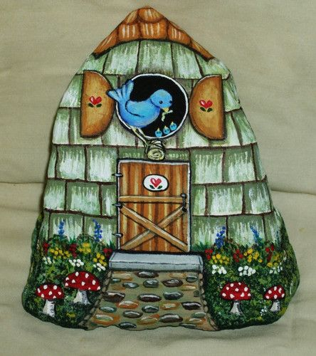 Hand Painted Rock by LP Blue Bird Gnome Bird House Painting Art Stone Decor | eBay