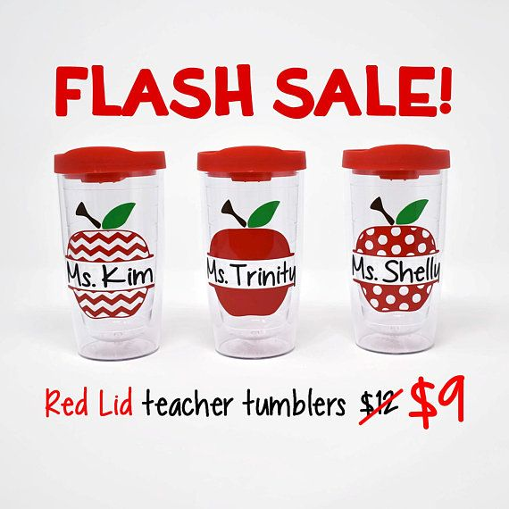 FLASH SALE!! For a limited time RED lid teacher tumblers are discounted from $12 to $9. Place your order before theyre all gone!  ***********************************  This listing is for one personalized apple teacher tumbler. This cup would be the perfect holiday or end of the year gift for your childs teacher. Any teacher would love to have this personalized tumbler!  This 16 oz lid tumbler is BPA free and made from high quality acrylic. This design is custom cut from high quality outdoor…