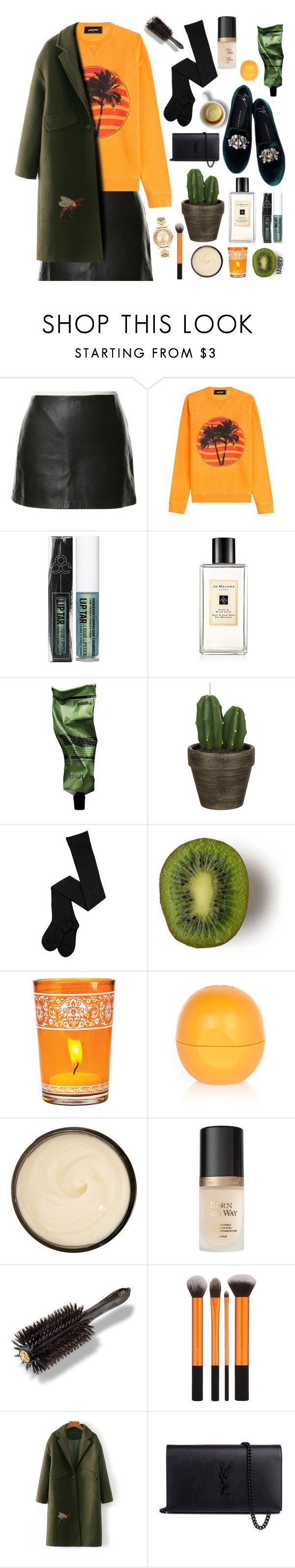 """""""Green Coat"""" by ana-mag ❤ liked on Polyvore featuring Zimmermann, Dsquared2, Giuseppe Zanotti, Obsessive Compulsive Cosmetics, Jo Malone, Aesop, John Lewis, Cultural Intrigue, River Island and Christophe Robin"""