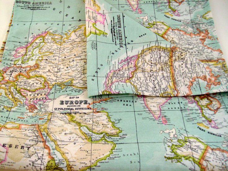 Map fabric runner - 6ft table runner - world map table runner - map table…