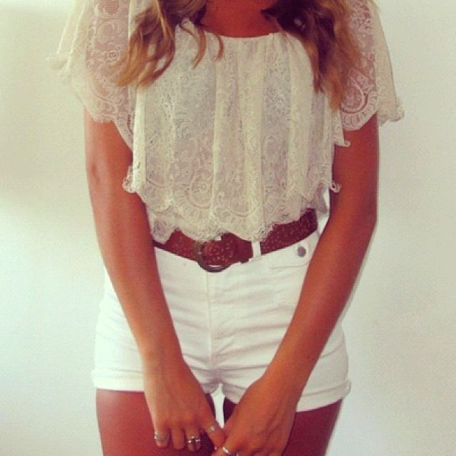 How to properly wear high waited white shorts. This girl rocked them. Can you?