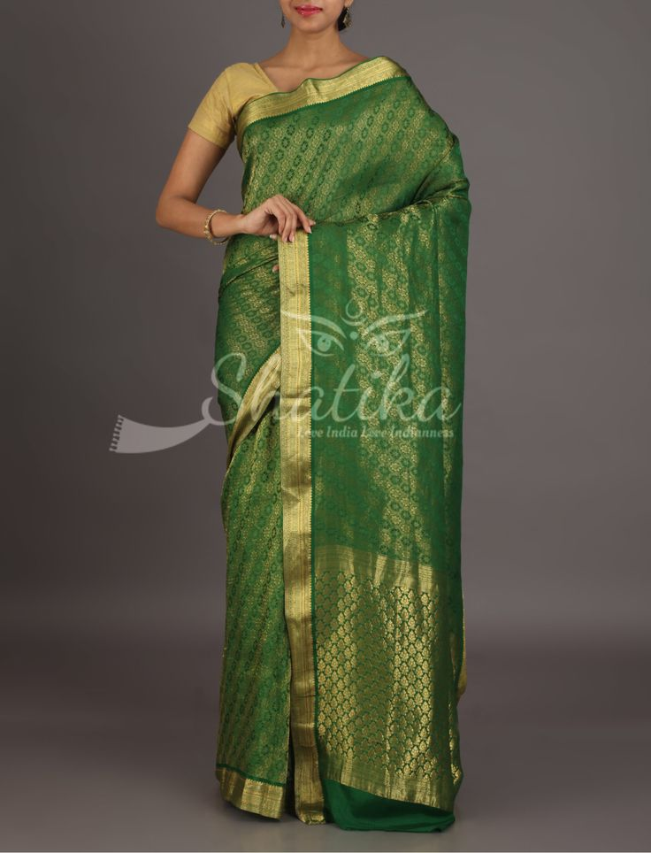 Manisha Solid And Mute Gold Design Stripes Fresh Green Mysore #GeorgetteSilkSaree