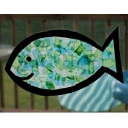 Free Kids Crafts - Tissue Paper Fish Craft  CA's advice*Use a construction paper outline and adhere with contact paper, add in a tin foil scale to relate back to Rainbow fish.