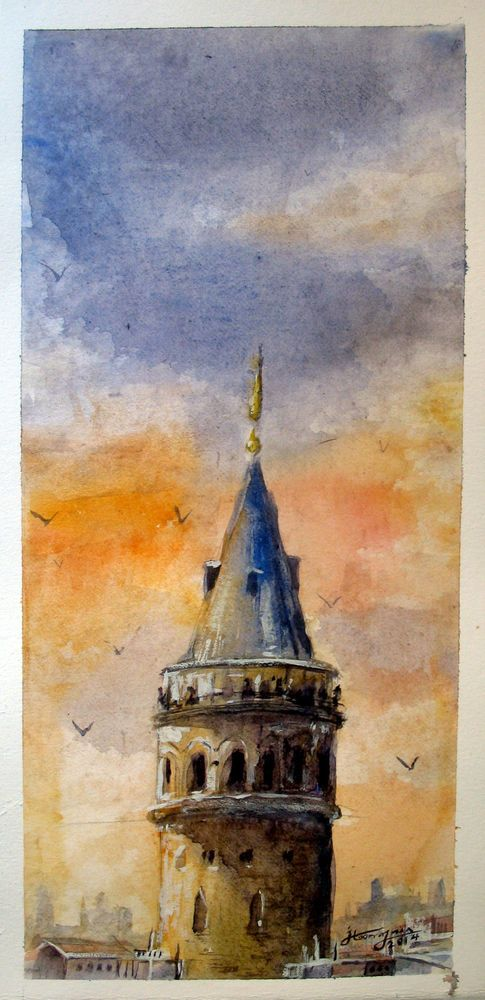 Sunset in Istanbul , Galata Tower - Watercolor painting #Impressionism