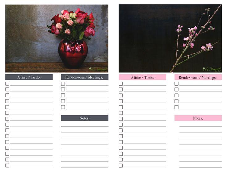 fun printable daily organizer - Agenda quotidien imprimable - rose par Le Bouquet