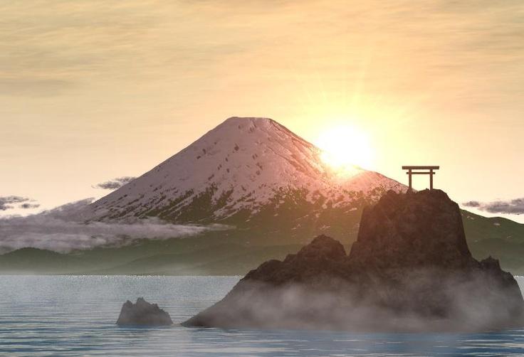 """Cuenta la leyenda que un leñador tuvo la oportunidad de ver surgir el volcán Fujiyama y olvidó su oficio para admirar su belleza. También pudo ver que surgió un gran lago cerca del vocán al cual le dio el nombre de Buia. Fujiyama quiere decir """"monte que nunca muere""""."""