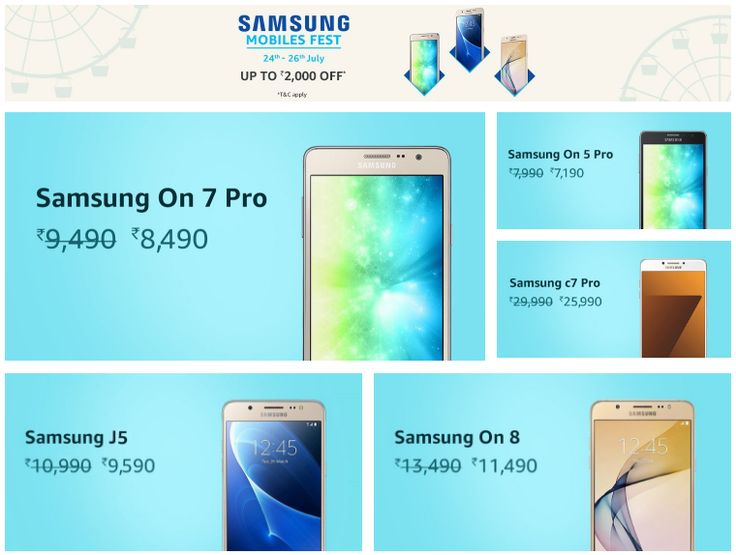You can get a discount on the Galaxy On 7 Pro, On 5 Pro, C7 Pro, and more during Samsung's Mobile Fest sale on Amazon.