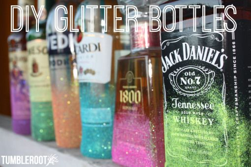 DIY Rainbow glitter bottles! Perfect for your wedding or your at home bar display!