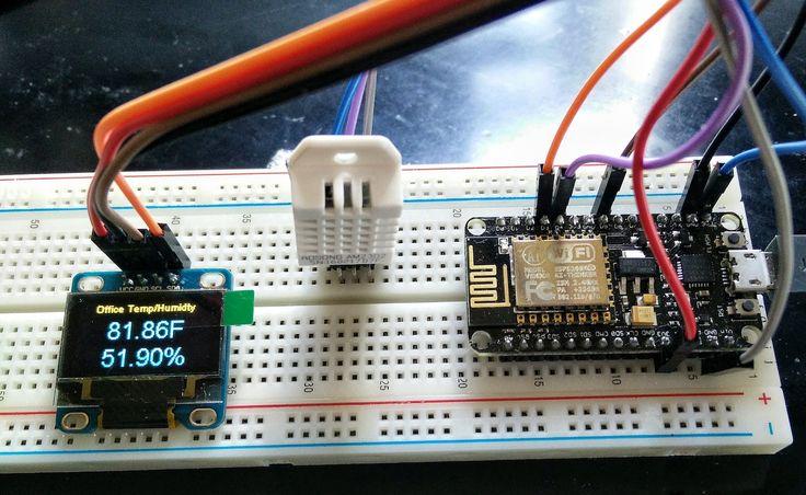 Изображение ESP8266 Отправить DHT Температура и влажность на MQTT и OLED-дисплей