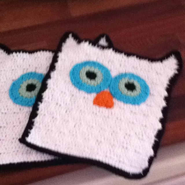 Owl Dishcloth Knitting Patterns Free : Crochet potholders diy pinterest