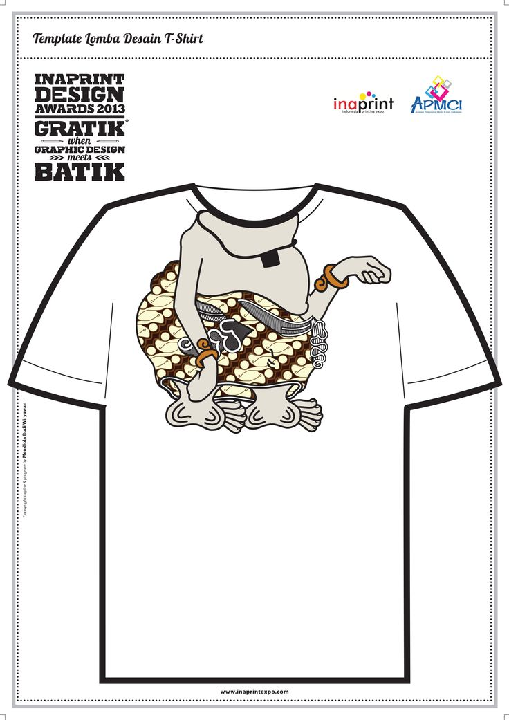 This is T-shirt design that I choose to be included in competition. Concept is about batik. So, I mix batik fabric with wayang, it's tell we are wayang who always use batik, we are a part of batik, batik is me and I am batik. Media: Adobe illustrator.