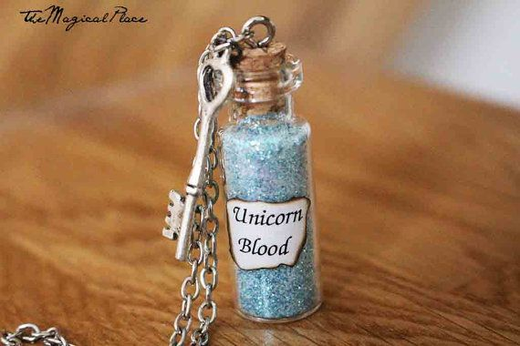 Unicorn Blood Bottle Charm Necklace  Harry by TheMagicalPlace