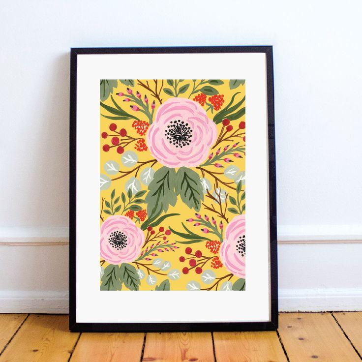 Botanical illustration #graphics #botanical #botanics #illustration #flower #yellow #design #poster #roses #peones #greens #berries #mint #thepaperhome