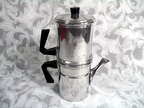 "Sold VINTAGE 5 PC NEAPOLITAN ALMINUM STOVE TOP FRIP-OVER COFFEE POT 9"" MADE IN ITALY"