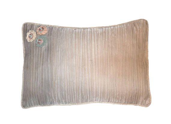 """Grey Beige Lumbar Pillow, 12x18"""" Decorative Throw Pillows, Pillow Piping, Self Striping Lumbar Pillow, Button Flower, Crochet Applique"""
