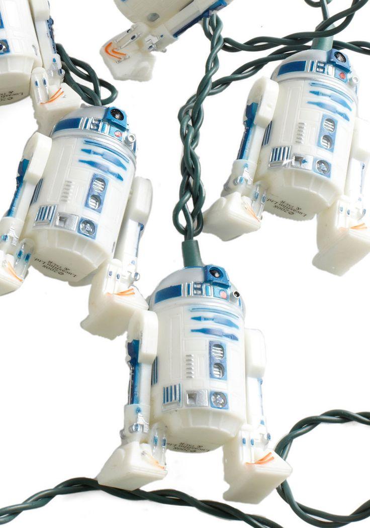 R2 Afraid of the Dark? Lights - White, Vintage Inspired, Dorm Decor, Quirky: R2 Afraid, Dorm Decor, R2D2 Lights, Stars War, Christmas Lights, String Lights, Christmas Trees, Retro Vintage, Vintage Decor