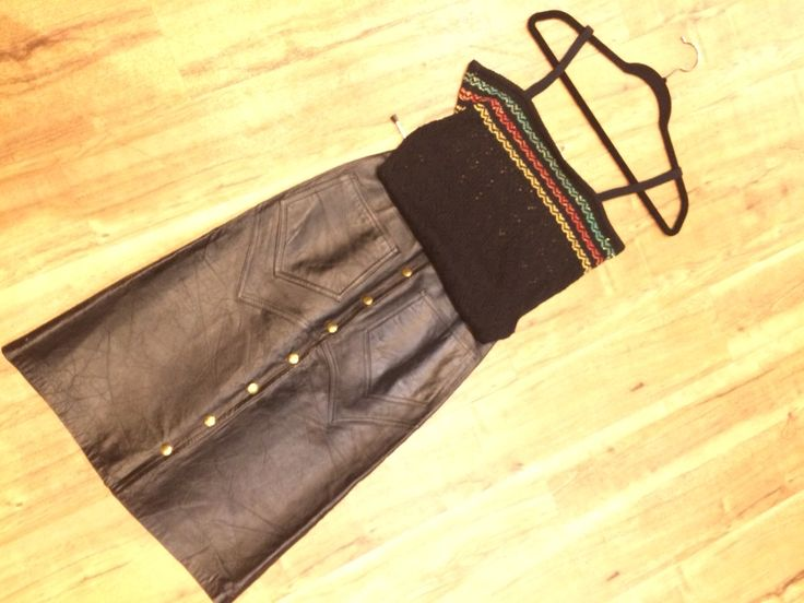 70's top and leather skirt