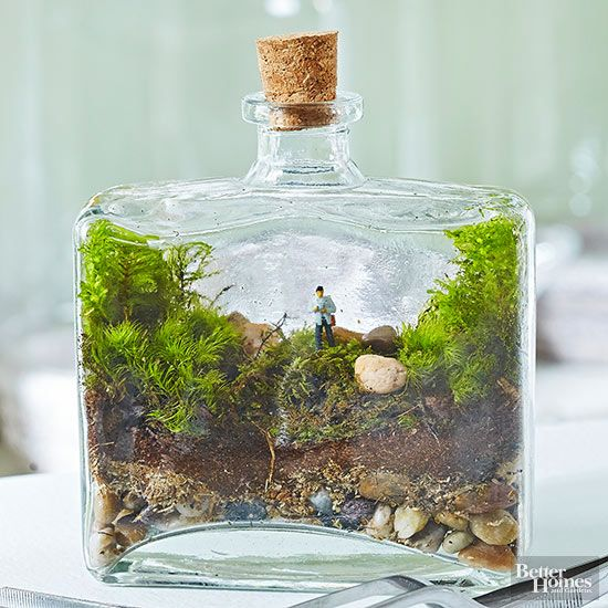 With the help of surgical tweezers and moss, this jar becomes a miniature version of a hike in the wilderness.