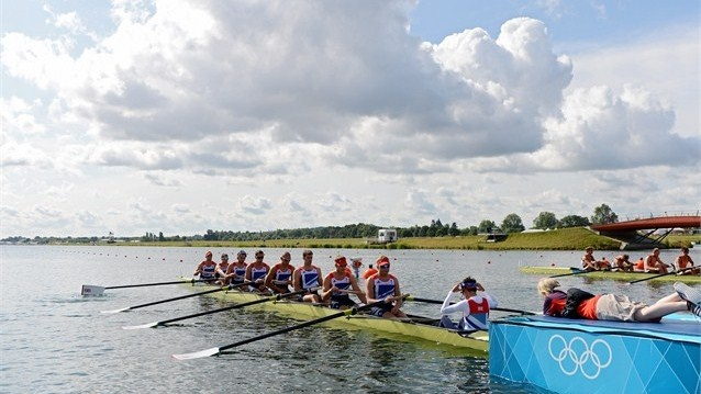 Team Great Britain prepare to compete in the men's Eight on Day 3 of the London 2012 Olympic Games at Eton Dorney.
