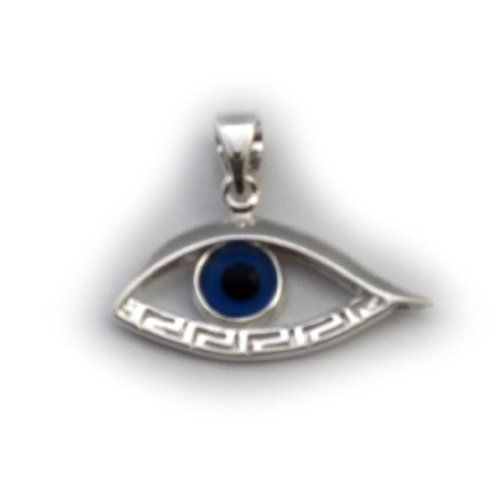 Sterling Silver Greek Key Evil Eye Pendant JewelryAffairs. $27.00. Rhodium Plated. Gift Wrap Available - Personal Message Available. Sterling Silver Greek Jewelry. Made In Greece. Item comes in a gift box