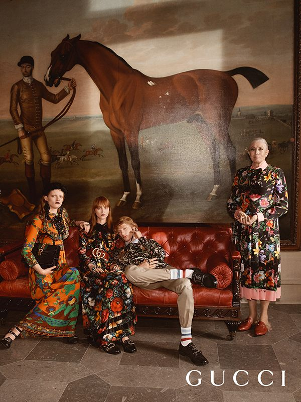 A tableau of looks, including the new Flora print in dresses by Alessandro Michele from the Gucci Cruise 17 collection captured in the campaign starring Vanessa Redgrave. The image shows an ornate room of Chatsworth House.