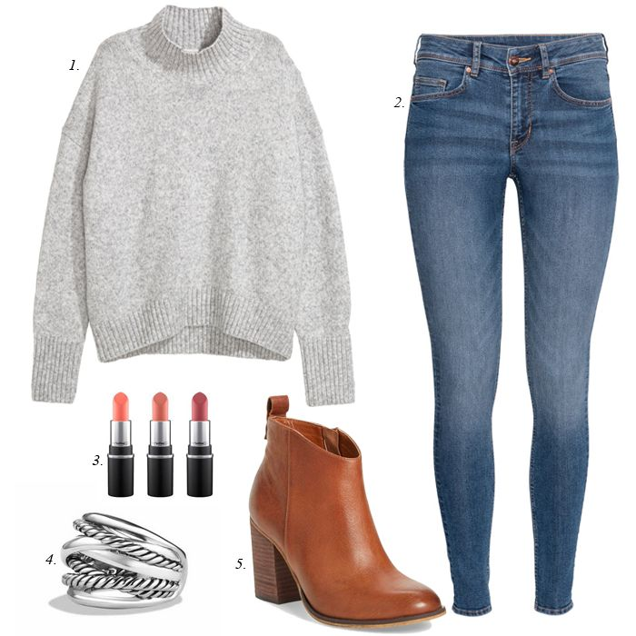 thanksgiving outfit idea, what to wear, thanksgiving, comfy, casual, women, outfit, chunky sweater, ankle booties, skinny jeans, how to style