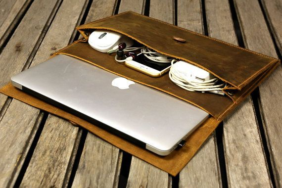 Handmade leather macbook sleeve case for new macbook 12 /