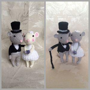 Crochet Wedding Mice Newlyweds
