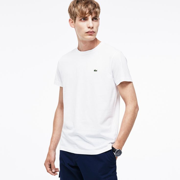 LACOSTE Men'S Pima Cotton Crewneck T-Shirt - White. #lacoste #cloth #all